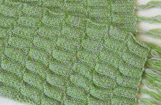 Двусторонний узор спицами для шарфа (описание)