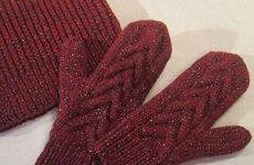 Комплект «Багрянец» (шапка и варежки спицами)