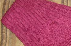 Комплект «Фуксия» (шарф и шапка спицами)
